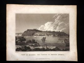 Clarke C1820 Antique Print View of Quebec, The Capital of British America Canada